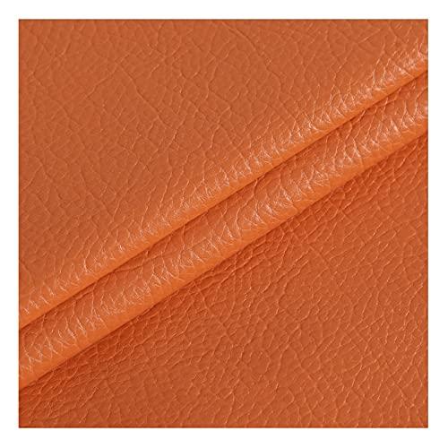 Tela de Cuero Sintético Piel Sintética de Cuero Sintético Tela de PU Material de Tacto Suave de Primera Calidad Tela de Vinilo Ancho de Tapicería 138 por 1 Metro X 138 Cm,12#Orange