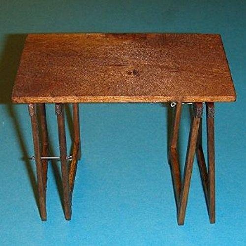 Miniatures World - Tafel met 2 houten schragen voor miniatuurdecors en poppenhuizen in schaal 1:12