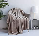 XUMINGLSJ Mantas para Sofa, Mantas para Cama de Franela Reversible, Mantas Ligeras de 100% Microfibra - Fácil De Limpiar - Extra Suave Cálido -Camello_El 130 * 160cm