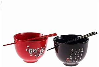 lachineuse Duo de Grands Bols Rouge et Noir - Fleurs de Cerisier - Baguettes Intégrées