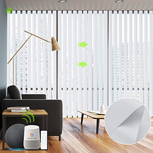 Yoolax Motorized Vertical Blinds Works with Alexa, Light Filtering Smart Window Blind with Remote Control Custom Size, Blackout Electric Blind with Wifi Power Motor for Sliding Glass Door (Pure White)