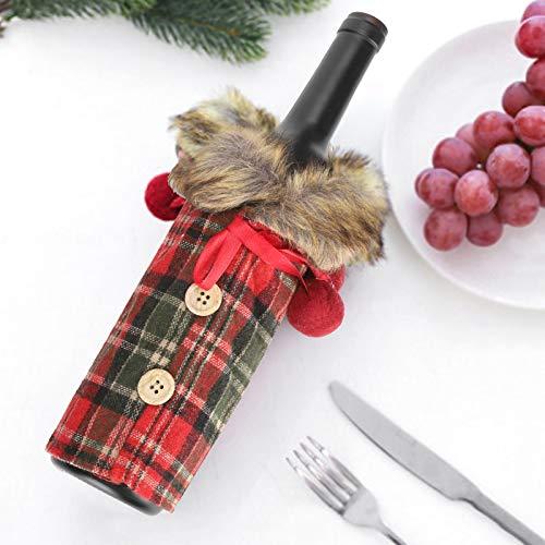 Ufolet Cubierta para Botella de Vino, Lindo paño a Cuadros, 2 Piezas, Decoraciones para Fiestas, para la Fiesta de Navidad, reunión Familiar, Amantes del Vino, Decoraciones para el hogar