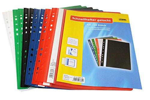 Idena 307862 - Schnellhefter A4 gelocht, aus Kunststoff, 20 Stück, 5 Farben, 4 x blau/grün/rot/weiß/schwarz