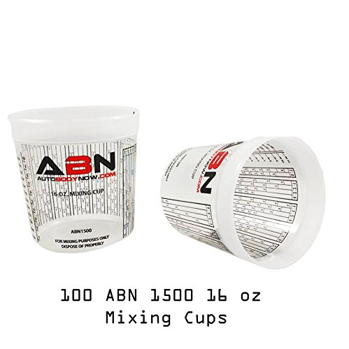 ABN Clear Plastic Mixing Cup 100-Pack 16oz Ounce / 473mL Milliliter Container with Ratios for Paint, Activators, Thinner
