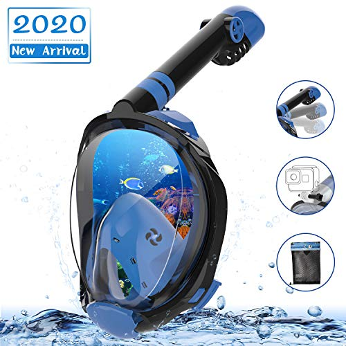 MADETEC Full Face Snorkel Mask Adult Kids Snorkel Set, 2020 Upgraded Snorkeling Swim Mask with 180°Panoramic View, Detachable Camera Mount, Anti-Fog and Anti-Leak (Large/Extra Large)