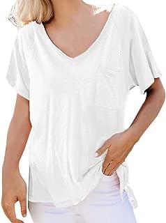 Hopeg Summer Clothing - Women Casual Solid Color V-Neck Pocket Short Sleeve T-Shirt Blouse, Loose Cotton Blend Tops