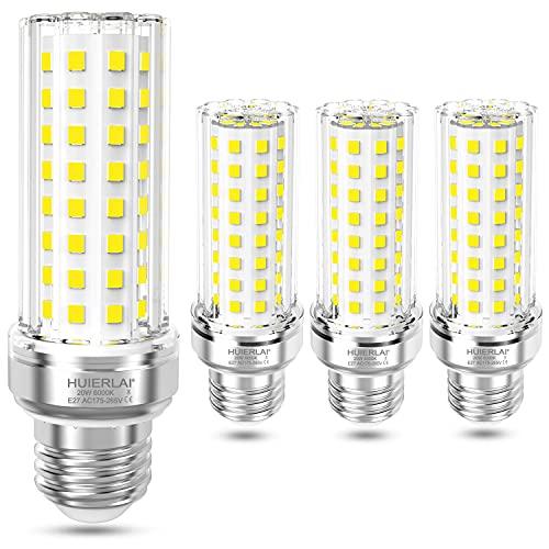 HUIERLAI 20W LED Lampe E27, 6000K Kaltweiß, 2100 Lumen E27 LED Maiskolben Birne, ersetzt 100W 120W 150W Glühlampe Leuchtmittel E27, A+ LED E27 Mais Birnen, Nicht dimmbar, 4er Pack