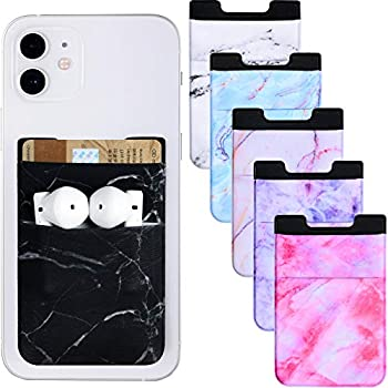 6 Pieces Phone Card Pocket Holder Stretchy Spandex Wallet Pocket Marble Pattern Double Pouch Credit Card ID Case Pouch Sleeve Adhesive Sticker Phone Wallet Pocket for Most Smartphones