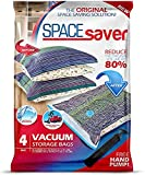 Spacesaver Premium Vacuum Storage Bags. 80% More Storage! Hand-Pump for Travel! Double-Zip Seal and Triple Seal Turbo-Valve for Max Space Saving! (Mix 4 Pack (2 x Large, 2 x Jumbo))