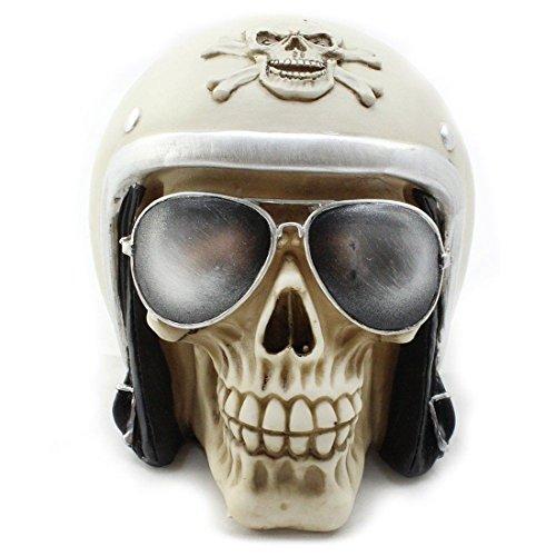 CBK-MS. Skull Totenkopf mit Motorradhelm und Sonnenbrille Halloween Sparschwein Spardose Totenschädel von