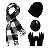 Dxhycc Winter Warm Sets Knitted Beanie Hat Touch Screen Gloves Plaid Scarf and Earmuff for Men or Women