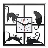 URAQT Fai-Da-Te 3D Orologio da Parete Creativa Gatto Nero, Moderna Decorazione Murali da Parete