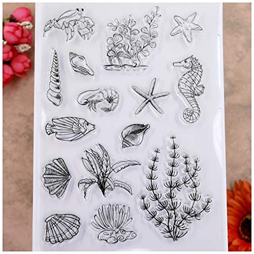 KWELLAM Ocean World Conch Seahorse Starfish Seaweed Clear Stamps for Card Making Decoration and DIY Scrapbooking