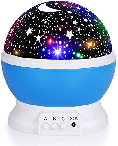 Night Light for Kids, Fortally Kids Night Light, Star Night Light, Nebula Star Projector 360 Degree Rotation - 4 LED Bulbs 9 Light Color Changing with USB Cable, Romantic Gifts for Men Women Children