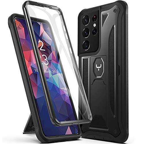 YOUMAKER Compatible with Galaxy S21 Ultra Case with Built-in Screen Protector Work with Fingerprint ID, Kickstand Full Body Shockproof Rugged Cover for Samsung Galaxy S21 Ultra 6.8 inch-Black