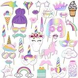 Accesorios para de Fotos de Unicornio Creativas Máscaras Gafas -simyron Juego de Manualidades para Niños Niñas Regalo Unicornio Decoraciones de Fiesta de Cumpleaños Arcoíris 29 Pieza
