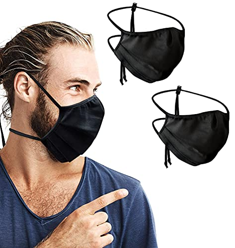 Purian Face Mask Adult XL (Extra Large) for Men with Beards | Black Straps with Quick Fit Cord Lock Toggles for All Day Use