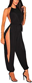 IyMoo Sexy Jumpsuits for Women - One Piece Women Halter Sleeveless Party Outfits Hight Split Pants Bandage Romper