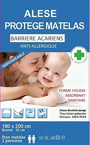 BNG ALESE 180x200 Protège Matelas Housse imperméable Anti acariens 180x200