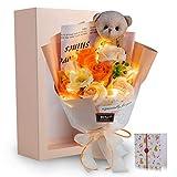 光る LED ライト 付き ソープフラワー 花束 バラ 造花 可愛いくま 母の日 誕生日 お祝い 昇進 転居など最適としてのプレゼント(薄紫)