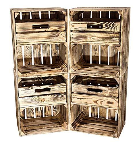 Kontorei® geflammte/braune Obstkiste mit Schublade Quer 50cm x 40cm x 30cm 4er Set Obstkiste Holzkiste Regal