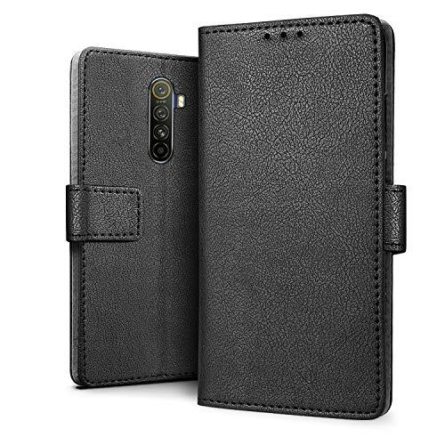 HDRUN Kompatibel für Realme X2 Pro Hülle - Premium PU Leder Flip Tasche mit Kartensteckplätzen & Ständerfunktion Schutzhülle Handyhüllen für Realme X2 Pro, Schwarz