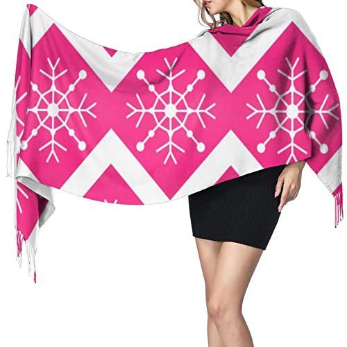 Chal largo cálido y largo con diseño de copos de nieve de Navidad en color rosa y blanco para mujer, bufandas grandes, sensación de cachemira, bufanda larga