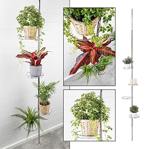 HI Teleskop Blumenregal (4 Ebenen) - Teleskop Blumenständer (vertikal) aus Metall und Glas, Blumenleiter draußen, Blumentreppe Metall, Pflanzenständer Garten oder Balkon Pflanzenregal