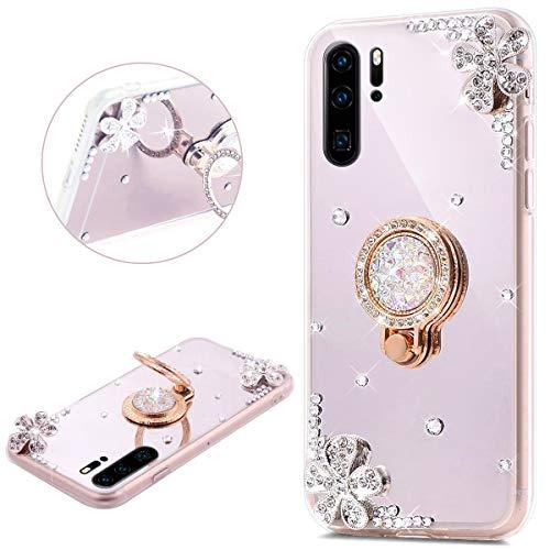 JAWSEU Compatible avec Huawei P30 Pro Coque Silicone Glitter Strass Diamant Miroir Bague de Support,Luxe Mode Cristal Clair Fleur Miroir Etui SoupleTPU Gel Téléphone Coque Bumper Case,Argent