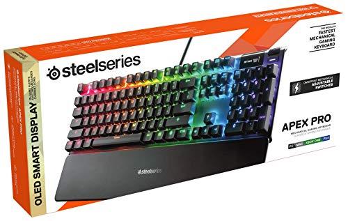 Steelseries Apex Pro, Tastiera Meccanica da Gaming, Switch Meccanici con Attivazione Regolabile, Smart Display OLED, Layout QWERTY Inglese