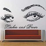 Salón de belleza decoración pestañas y cejas de la pared de la pared Vinilo Pestañas Etiqueta de la pared Salón de la belleza Fotomural Maquillaje Pegatinas 80x42cm