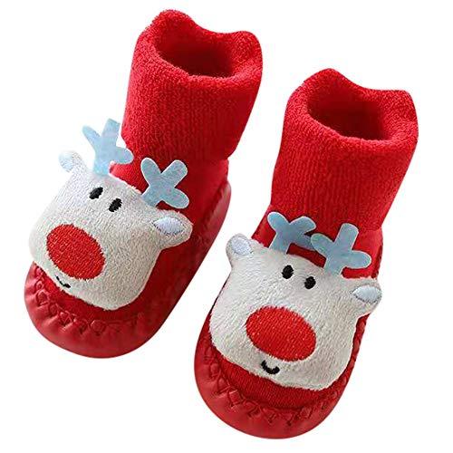 Fossen Disfraz Navidad Bebe Niña Niño Calcetines de Piso Antideslizante - Patrón de Papa Noel Arbol de Navidad Reno (6-12 Meses, Reno)