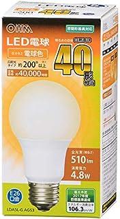 オーム電機 LED電球(40形相当/510lm/電球色/E26/広配光200°/密閉形器具対応) LDA5L-G AG53