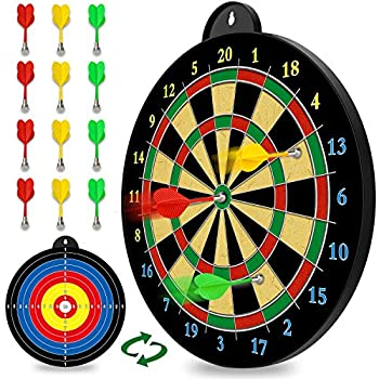 Magnetic Dart Board - 12pcs Magnetic Darts  Red Green Yellow  - Excellent Indoor Game and Party Games - Magnetic Dart Board Toys Gifts for 5 6 7 8 9 10 11 12 Year Old Boy Kids and Adults
