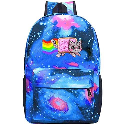 Galaxy School Backpack Rainbow Nyan Cat Bookbag For School College Student Travel Busines