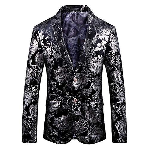 HX fashion Herrensakko Klassischer Sakko Partei Drucken Samt Hochzeitsanzug Partei Slim Bequeme Größen Fit Anzugjacken Smoking Blazer Abschlussball Kleidung (Color : Silber, Size : XL)