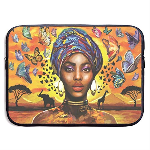 African Woman and Butterflies Laptop Carrying Case Waterproof Laptop Sleeve, Laptop Sleeve Bag Neoprene Handbag Protective Bag Cover Case for 13'' 15