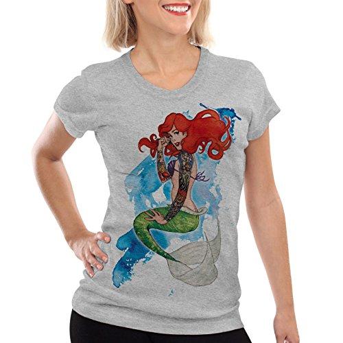 style3 Arielle Tattoo Damen T-Shirt meerjungfrau Biker Motorrad Punk Rock, Farbe:Grau meliert, Größe:M