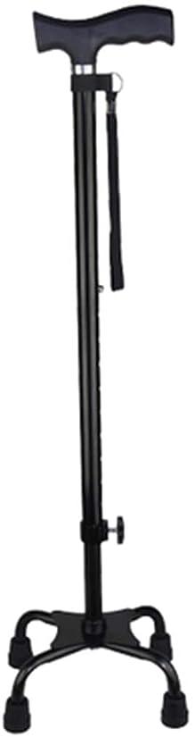 現在クレデンシャルベンチ男性や女性のための4フィート黒人スティックと調節可能なオールドメン古い望遠鏡の安定した滑り止めやすい高さのための杖ホルダー杖松葉杖