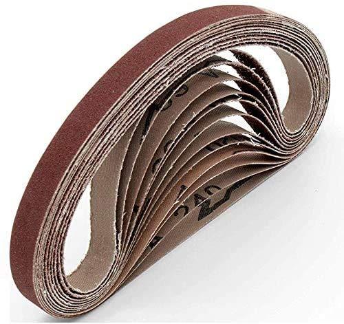 Bandas de lija de tejido (12 unidades, 13 x 457 mm, grano 40, para lijadora Black&Decker®, papel de lija