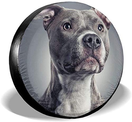 MODORSAN Pitbull Dog Cute Spare Wheel Tire Cover Poliéster Universal Cubiertas de Rueda para Jeep, Remolque, RV, SUV, camión, Accesorios, 14 Pulgadas