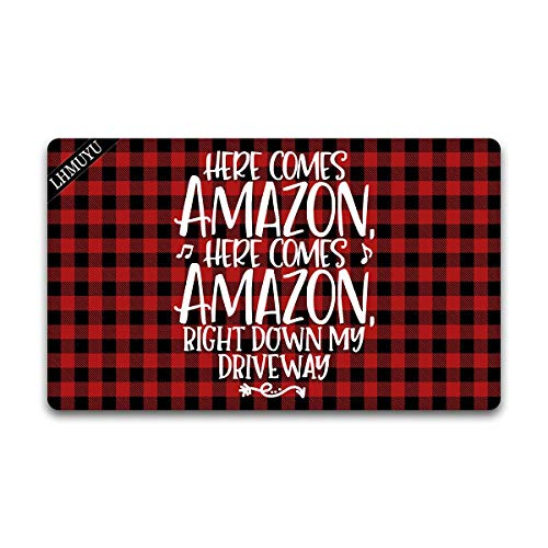 Home Decor Here Comes Amazon Right Down My Driveway Welcome Mat with Rubber Backing Doormat Entrance Floor Mat Non-Slip Entryway Rug Easy Clean 30 X 18 Inches