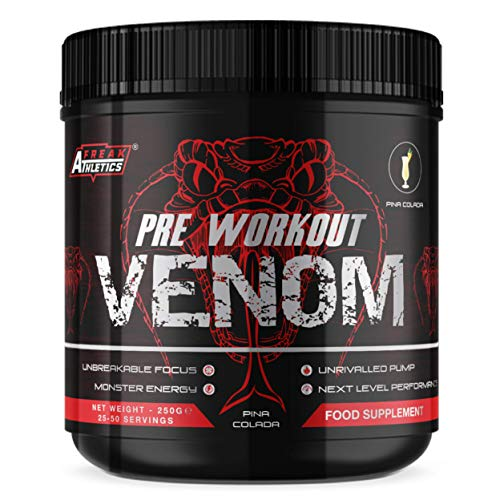 Pre Workout Venom 'Pina Colada' - Pump Pre Workout Supplement by Freak Athletics - Elite Level Pre Workout Supplement - Pre Workout Powder Made in The UK - Available in Pina Colada