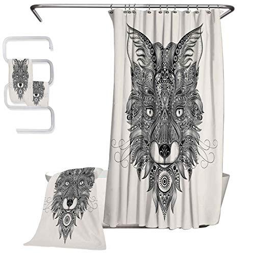 Celtic Handkerchiefs 100% Soft Cotton 4-Piece Bathroom Set Sharp Eyed Fox Head Portrait Mask Celtic Animal Pattern Style Image Suitable for Bathroom Shower (W72 xL72) (W27 xL55) (W13 XL 27')(W13 XL