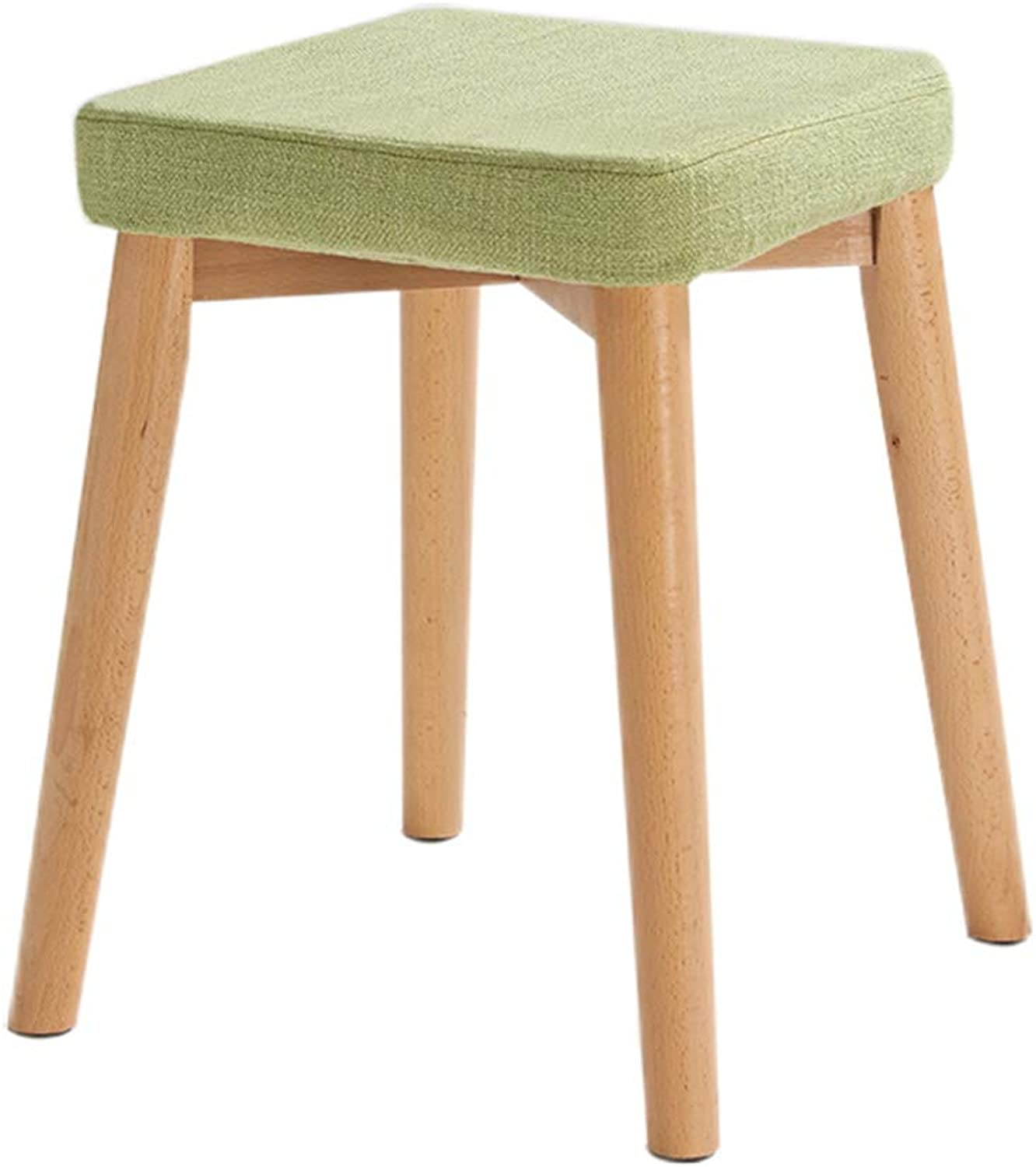 LYXPUZI Solid Wood Dining Stool Fabric Stool Stool Living Room Stool Square Bench Dressing Stool (color   Green)