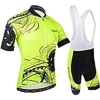 BXIO Hombres Jersey de Ciclo Bike Wear Yellow Fluo Road Race X-Large Amarillo