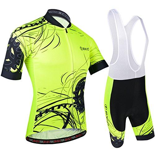 BXIO Hombres Jersey de Ciclo Bike Wear Yellow Fluo Raza de Camino Amarillo Grande