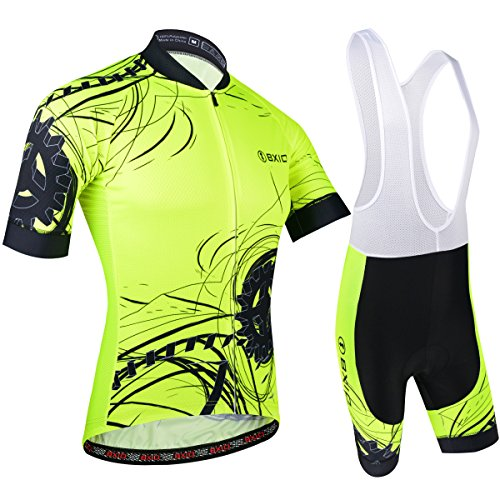 BXIO Uomini Cycling Jersey Fluo Yellow Bike Wear Road Race Grande Giallo
