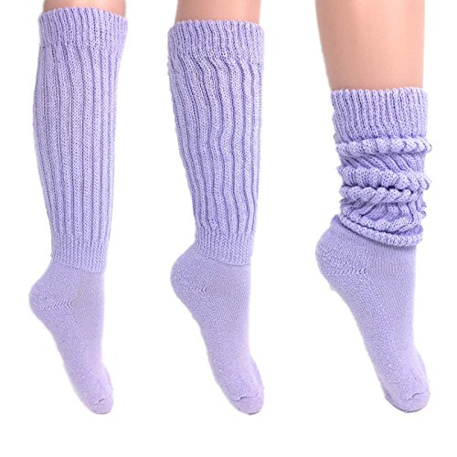 Women's Extra Long Heavy Slouch Cotton Socks Size 9 to 11 (3 Pairs - Lilac)