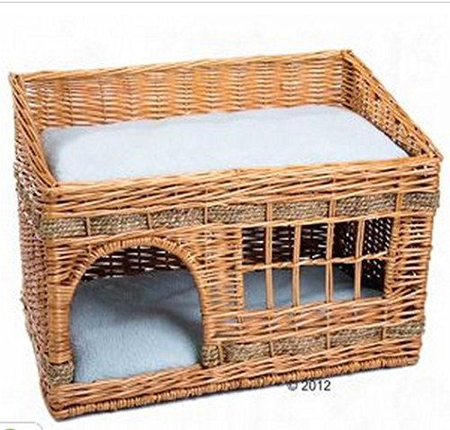 Woven 2 Floor Indoor Cat Den. This Home For Your Cats Comes Complete With Two Cushions & Is The Perfect Sleeping and Resting Bed.